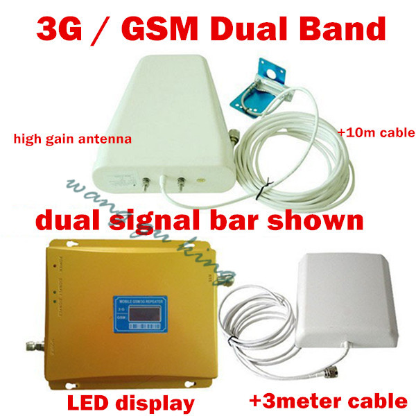 LCD Display Dual Band Mobile Repeater GSM 900MHz And 3G W-CDMA 2100mhz 3G GSM Signal Amplifier Dual Booster With 10+3 Meter 1Set