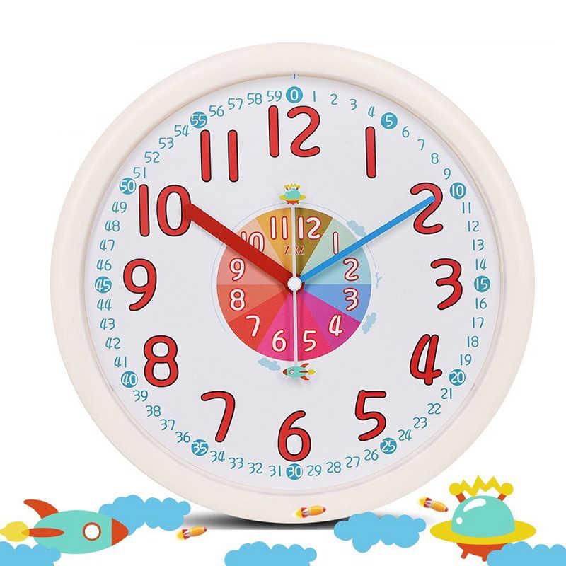 Reloj de pared rosa de dibujos animados para niños, reloj de pared creativo y silencioso con diseño acrílico, Relojes de pared para dormitorio, decoración del hogar, Zegar 50w086