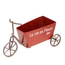 Niños juego de simulación Vintage Mini-triciclo ornamento Triciclo de metal modelo de escultura bicicleta decoración de escritorio-muebles rojos Juguetes