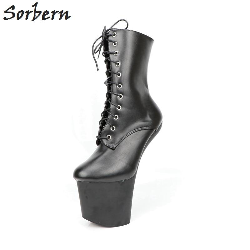 Sorbern Black Platform Boots Mid Calf Heelless Hoof Boots Ladies Night Club Show Shoes Unisex Fetish High Heels Zipper 36-46 double buckle cross straps mid calf boots