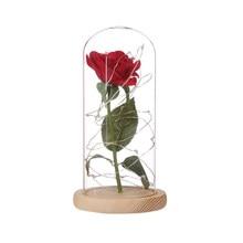 cc3ce090289 Artificial Rosa Vermelha E Luz Led Simulação Flor Decoração Em Cúpula De  Vidro Amantes do Dia Dos Namorados Presente Para Casame.