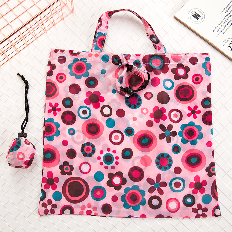 Reusable Shopping Bag Floral Solid Color Grocery Bag Polyester large shopping bag foldable Waterproof Storage Bags in Shopping Bags from Luggage Bags