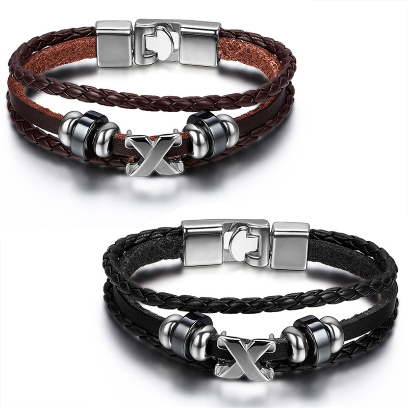 Men Leather Bracelet Jewelry 22cm Length Cool Fashion leather Braided Cross Charms Brace ...