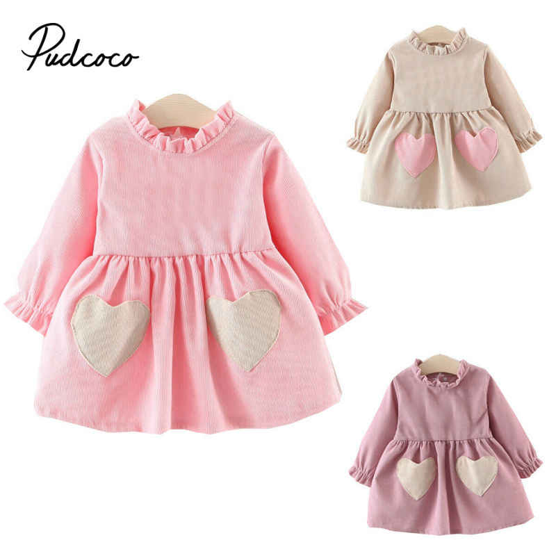 pudcoco 2019 Dresses For Girls Princess Costume Kids Infant Clothes Child Carnival Party Double Heart Decor Fold Neck Vestidos