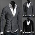 New Fashion Mens Knitwear Cardigan Fake Pocket Design Men Sweaters Slim Casual Sweater Coat Double Breasted Clothing