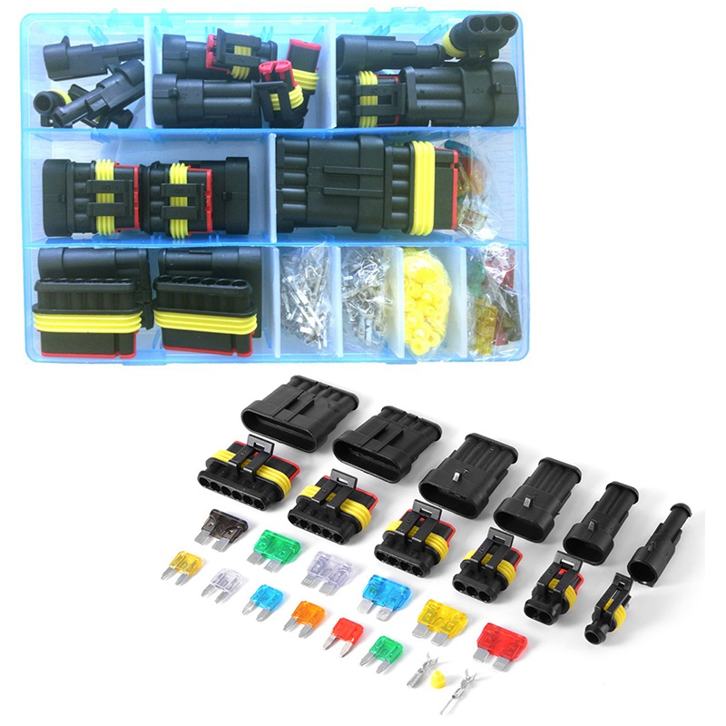Mayitr 1 Set 1/2/3/4/5/6 Pin Way Car Waterproof Electrical Connector Terminal with Fuses Kit Automotive Wire Connector Plug brand new high quality 4 way pin 6 3mm car electrical terminal block multi connector plug socket kit