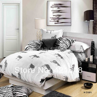 New hot selling black white zebra/stripe плед plaid/ leopard print cotton full/queen size bed linen/bedclothes bedding sets 4pcs