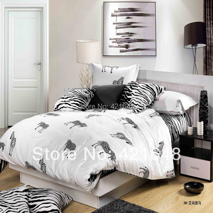 New hot selling black white zebra/stripe plaid/ leopard print cotton full/queen size bed linen/bedclothes bedding sets-4pcs