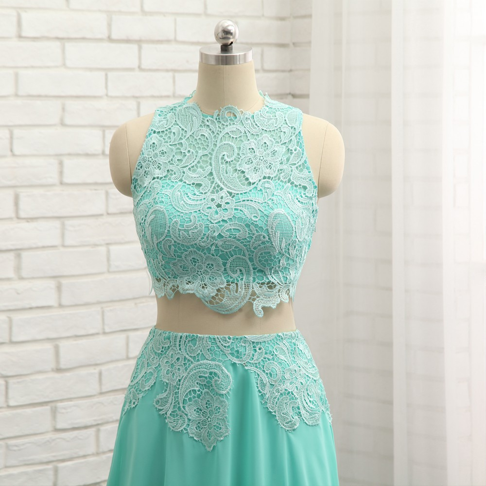 HVVLF Mint Green 2018 Prom Dresses A line High Collar Chiffon Lace ...