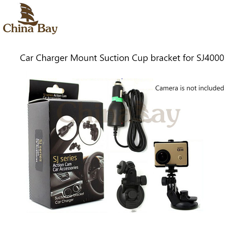 Siurbimo puodelio laikiklis su sporto kameros automobiliniu įkrovikliu SJ serijos veikimo kamerai Caemera SJ1000, SJ2000 / 3000, SJ4000 montavimo priedai