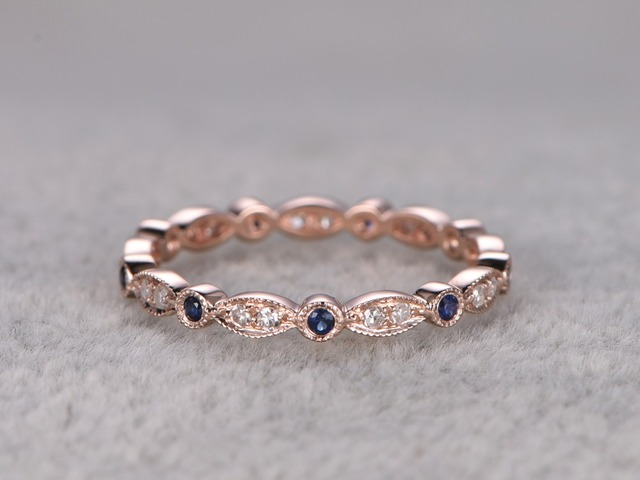 Myray Natural Diamond And Blue Sapphire Antique Vintage Engagement