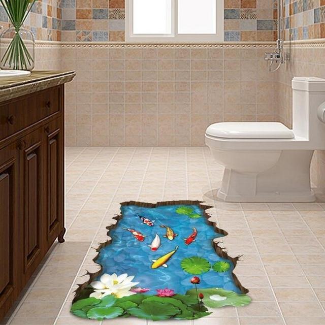 1 pcs 3d feuille de lotus Étang à poissons stickers muraux ... - Salle De Bain Petit Carreaux