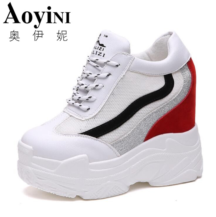 2018 Summer Casual Platform Shoes Fashion High Heels Shoes Woman Wedges Sneakers Shoes Loafers Heigh Increasing Zapatos Mujer