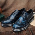 Artwork Solid Performance Full Grain Leather Japanned Leather Brogue Hippies Superstar Platform Carved Mens Dress Shoes Plain