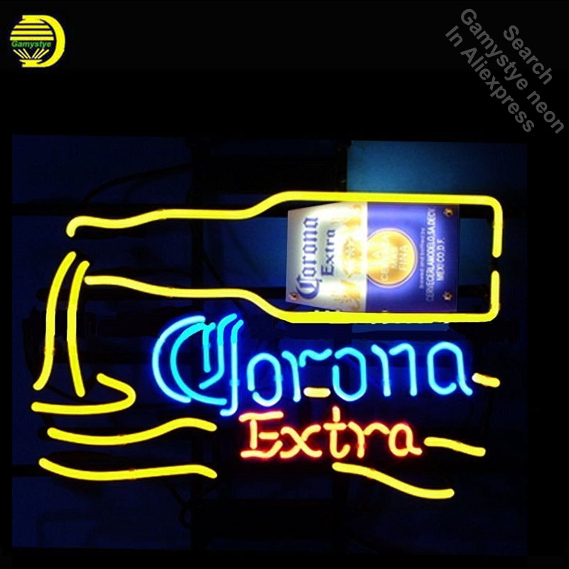 Neon Sign for Corona Extra Dumping Bottle Neon Bulbs sign handcraft Glass tubes Decorate Beer Wall Room signs made to order