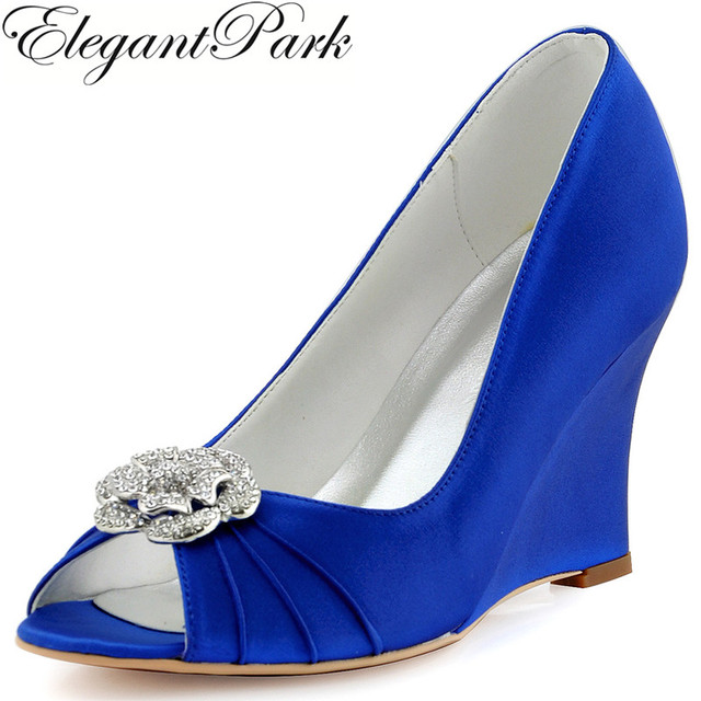 Woman Wedge High Heel Bridal Wedding Shoes Blue Peep Toe Buckle Satin Bride  Bridesmaid Evening Prom