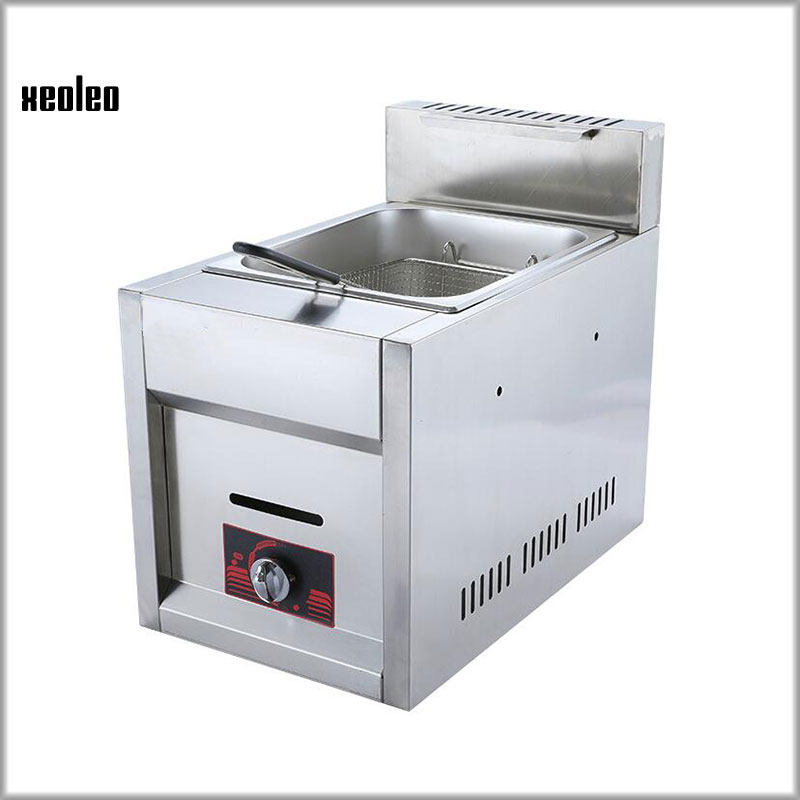 XEOLEO Commercial LPG Gas Fryer Multifunctional Stainless steel Fryer 6L Single Cylinder Smoke Window Type Fryer fried Chicken цена и фото