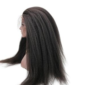 Image 2 - Eseewigs 300 Density Italian Yaki Straight Fake Scalp PU silk base Lace Frontal Wigs Black Women Remy Human Hair wig With Baby