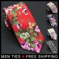 2017 Dos Homens de Algodão Fino Flor Gravata Skinny 6 cm Laços Estreitos gravata Floral Cavatte Rosa Preto Escuro Marinha Laços Corbatas Hombre Gravata
