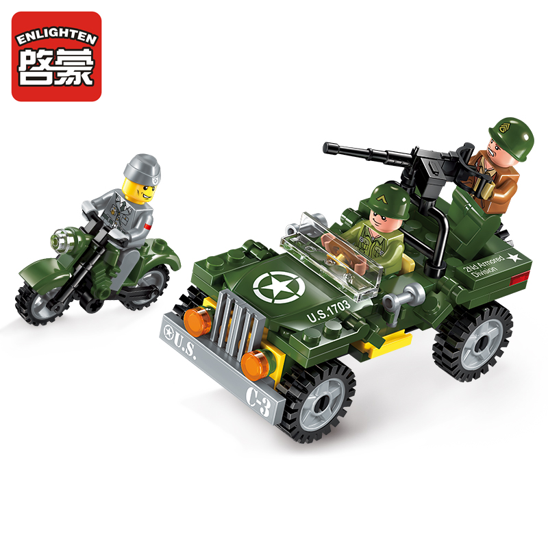 1703 ENLIGHTEN Military Series WWII Containment Scouts Model Building Blocks Action Figure Toys For Children Compatible Legoe enlighten building blocks navy frigate ship assembling building blocks military series blocks girls