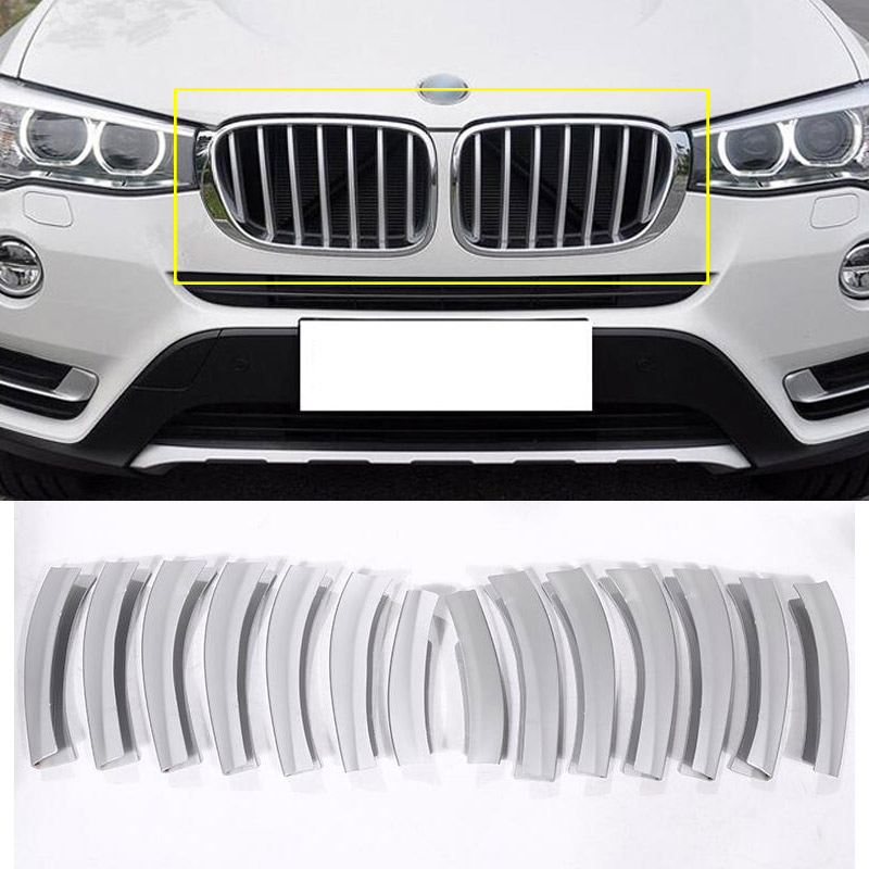 14pcs Front Grill Cover Trim ABS Chrome Sequins For BMW X3 f25 2011 2017 Car Accessories