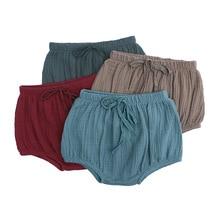 Летние Повседневные Шорты Для новорожденных мальчиков и девочек хлопковые льняные шаровары для малышей, короткие штаны Детские однотонные шорты От 0 до 4 лет