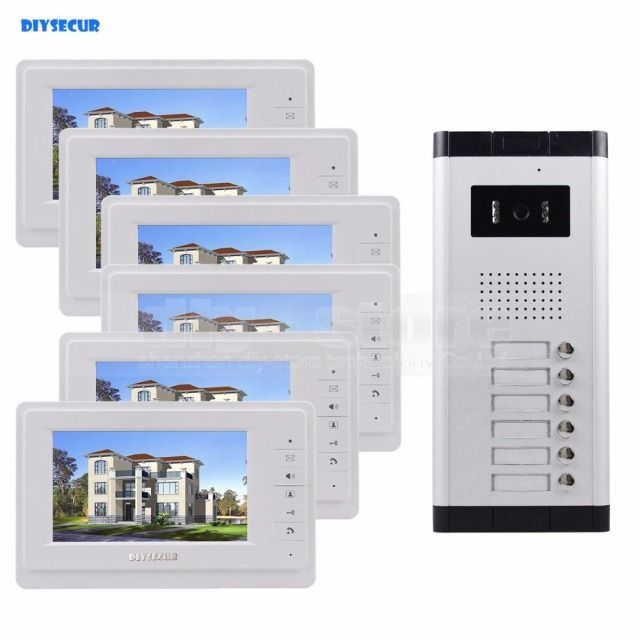 "DIYSECUR 7"" 4-Wired Apartment Video Door Phone Audio Visual Intercom Entry System IR Camera For 6 Families"