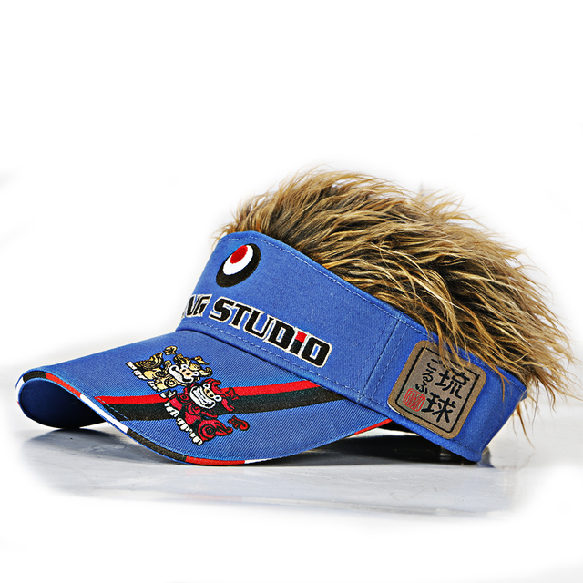 1 pcs golf cap baseball cap 4 color optional   men   Fake Hair  ultraviolet-proof Sun cap wholesale   free shipping