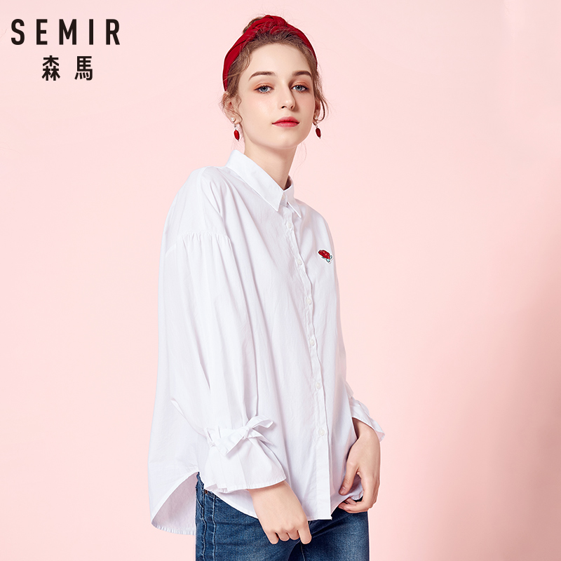 SEMIR Women Shirt 2018 Early Autumn New Long-sleeved Female Shirts Thin Square Collar Embroidery Fashion Loose Flower Clothes