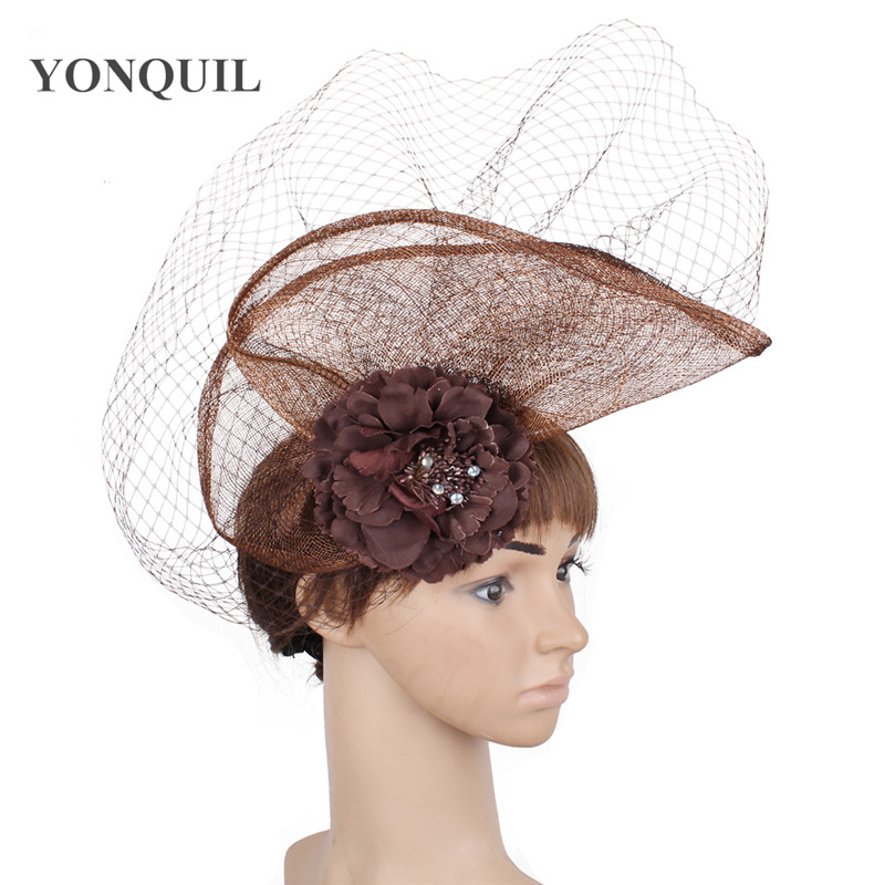 sinamay fascinator hats with birdcage veil bridal wedding headwear cocktail hats party occasion hair accessories Multiple colors