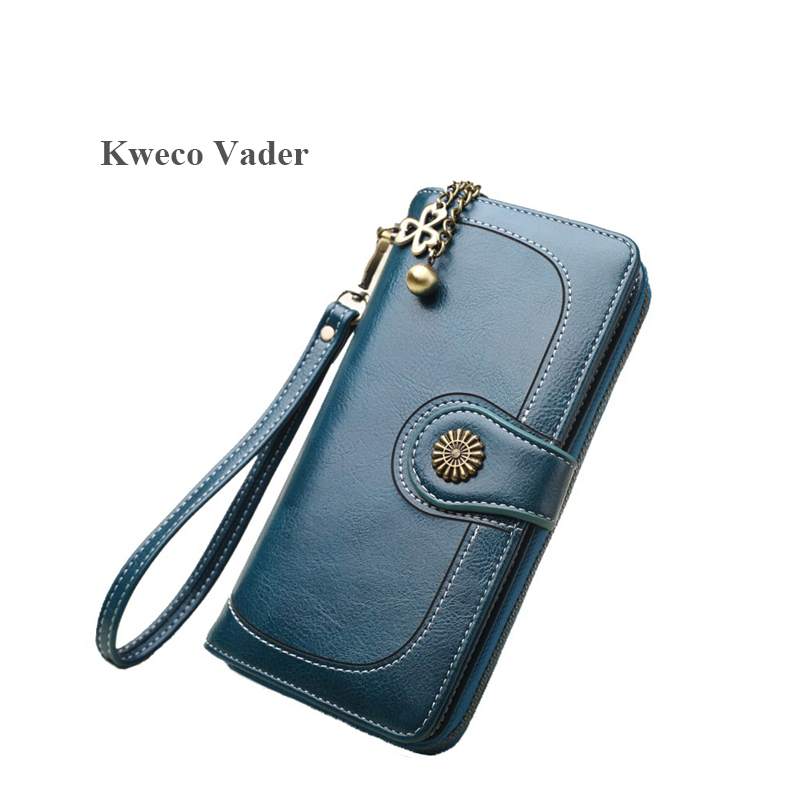 Vintage Button Phone Purses Women Wallet Female Purse Leather Brand Retro Ladies Long Zipper Woman Wallet Card Clutch