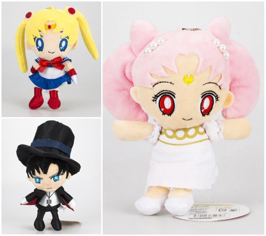 "Anime Sailor Moon Plush Dolls Tsukino Usagi Chibi usa 6"" Chiba Mamo Stuffed Toys Keychains Charms Pendant Cute Girls Kids Gift"