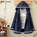 Merry Pretty Autumn Winter Women Jacket Japanese Style Mori Girl Solid Color Hooded Long Sleeve Blends Coat Casual Outerwear JK1
