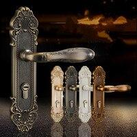 European fashion ivory white bedroon door handles antique bronze mute wooden door lock gold indoor locks modern simple