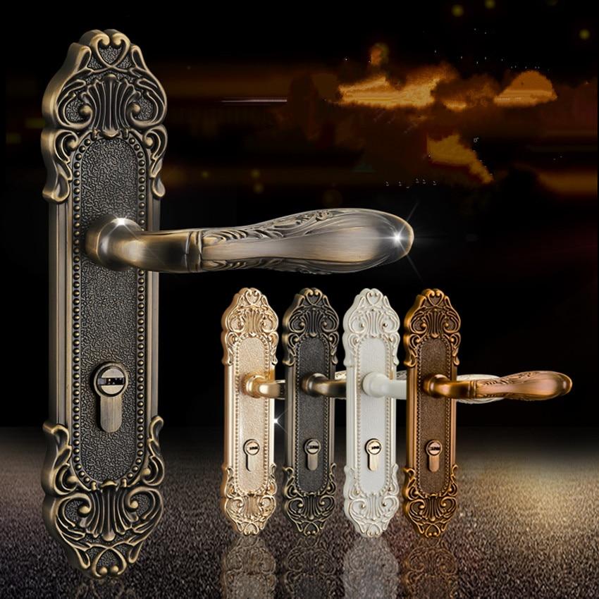 Mode européenne ivoire blanc chambre à coucher poignées de porte antique bronze muet serrure de porte en bois or intérieur serrures moderne simple