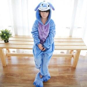 Image 2 - Kids Kigurumi Children pajamas Winter Flannel Animal pajamas one piece Rabbit Totoro Stitch Panda Cosplay baby Boy girl pyjamas