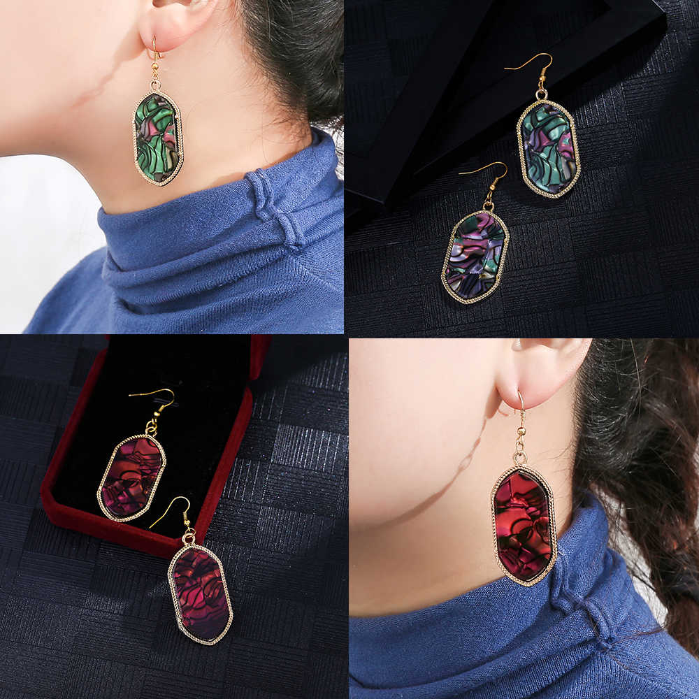 New Vintage Bohemia Acrylic Dangle Drop Earrings For Women 2019 Colorful Earrings Geometric Earrings Jewelry Fashion Y2