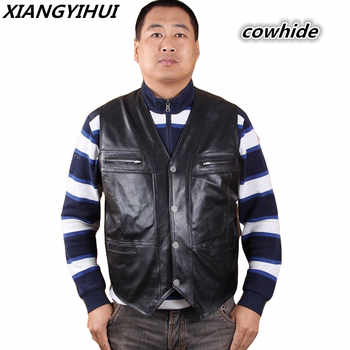New Men's Waistcoat Genuine Leather Reporters Suit More Than Pocket Quinquagenarian Men Cow Leather Vest Tops Sleeveless Jacket - DISCOUNT ITEM  21% OFF All Category