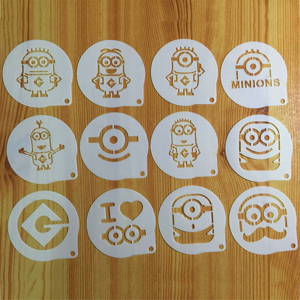 12pcslots cartoon minions figure cappuccino coffee stencils cookie 12pcslots cartoon minions figure cappuccino coffee stencils cookie latte stencil cake mold decor barista duster art diy w160499 in cake molds from home maxwellsz