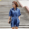 Summer Women's short sleeve casual loose denim jumpsuits Lady's fashion blue high waist short pants overalls with big pockets