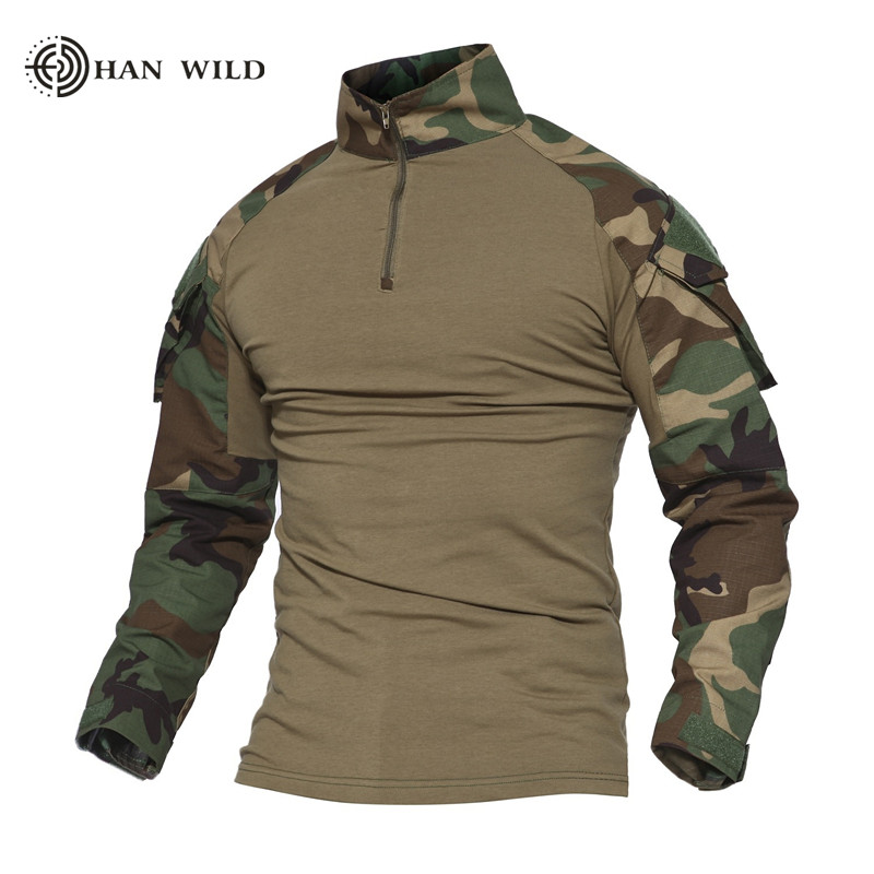 Military Men Combat Tactical Airsoft Hunting Long Sleeve Shirt with Elbow Pads