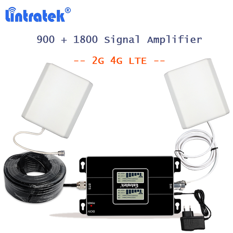 Lintratek 2g 4g Celular Signal Booster Repeater 4G LTE 1800 Band 3 Cellular Amplifier With 10m Cable 65dB Repeater 900 1800 S54