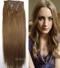 10pcs /set #6 Light Brown  Free Shipping  THICK Full Head silk soft  remy Brazilian Human Hair Clip In on Human Hair Extensions