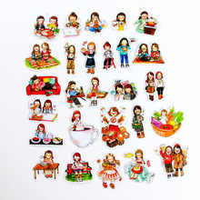 素敵なステッカーかわいい漫画ステッカーpvcスクラップブックハンドブック日記キッズ子供防水ステッカーのおもちゃペガティナ女の子のギフト