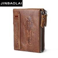 JINBAOLAI HOT Genuine Crazy Horse Cowhide Leather Men Wallet Short Coin Purse Small Vintage Wallet Brand