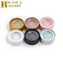 10pcs Glitter Lash Round Box 3D Mink Eyelash Extension Strip False Eyelash Shiny Individual lash Box Own Logo With Plastic Tray цены онлайн