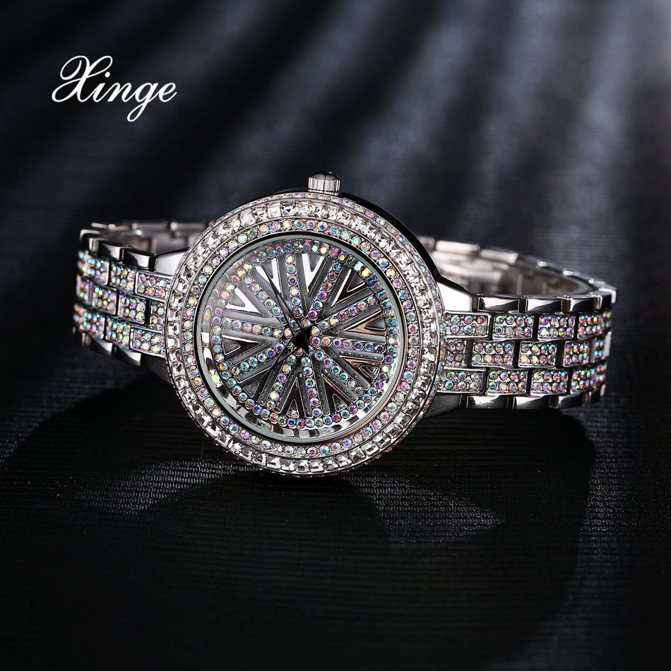 Xinge Brand Bracelet Watches For Women Luxury Stainless Steel Zircon Quartz Wrist Ladies Dress Watch 30m Waterproof Relogio xinge top brand luxury women watches silver stainless steel dress quartz clock simple bracelet watch relogio feminino