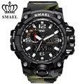 SMAEL бренд спортивные часы для мужчин Dual Time Камуфляж Военная Униформа часы для мужчин армия светодиодные цифровые наручные часы 50 м водонепр...