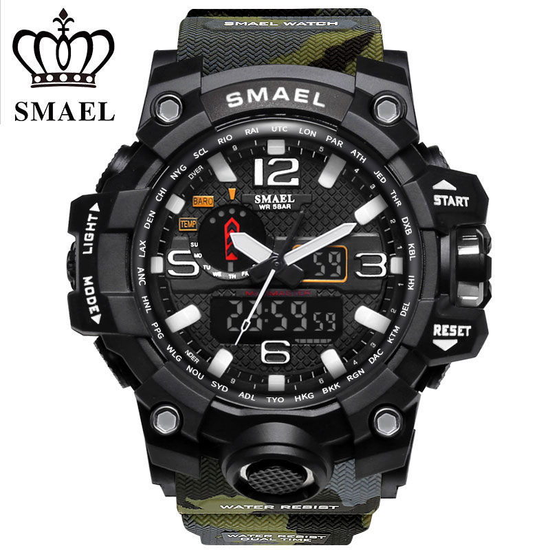 Smael marke sportuhren männer dual time camouflage military watch männer armee led digital armbanduhr 50 mt wasserdichte herrenuhr