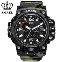 SMAEL Brand Sports Watches Men Dual Time Camouflage Military Watch Men Army LED Digital Wristwatch 50M